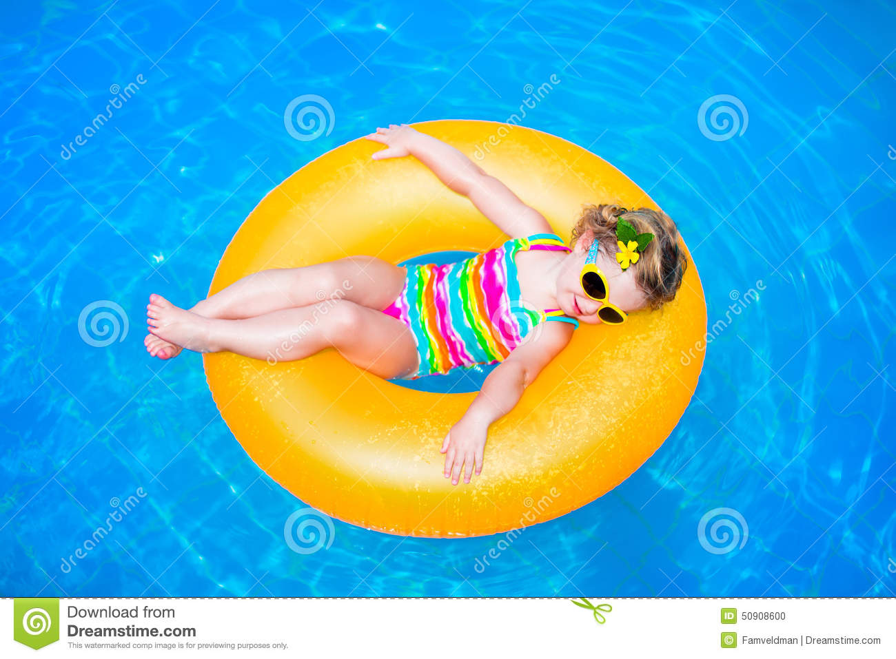 Little Girl In A Swimming Pool Stock Photo Image 50908600