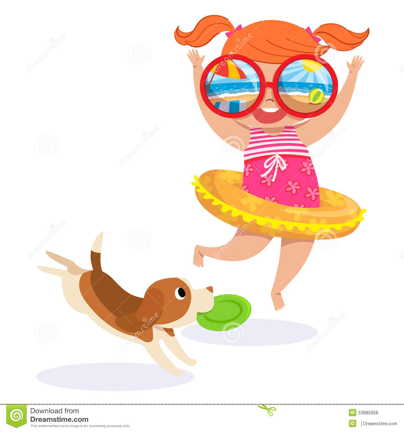 Little girl in swimming suit at the beach stock vector