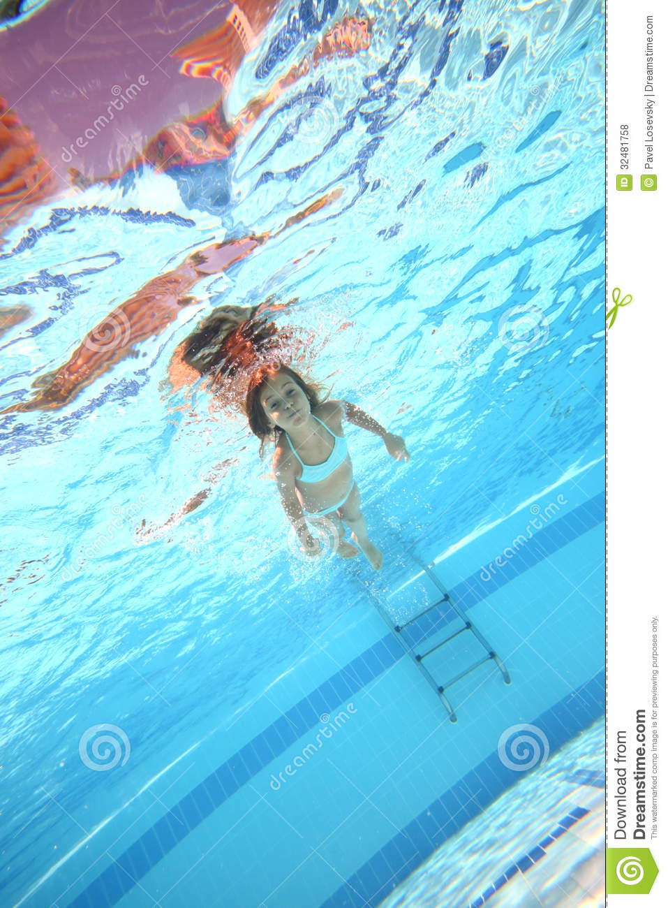 Little Girl Swimming Underwater With Open Eyes Stock Photo Image 32481758