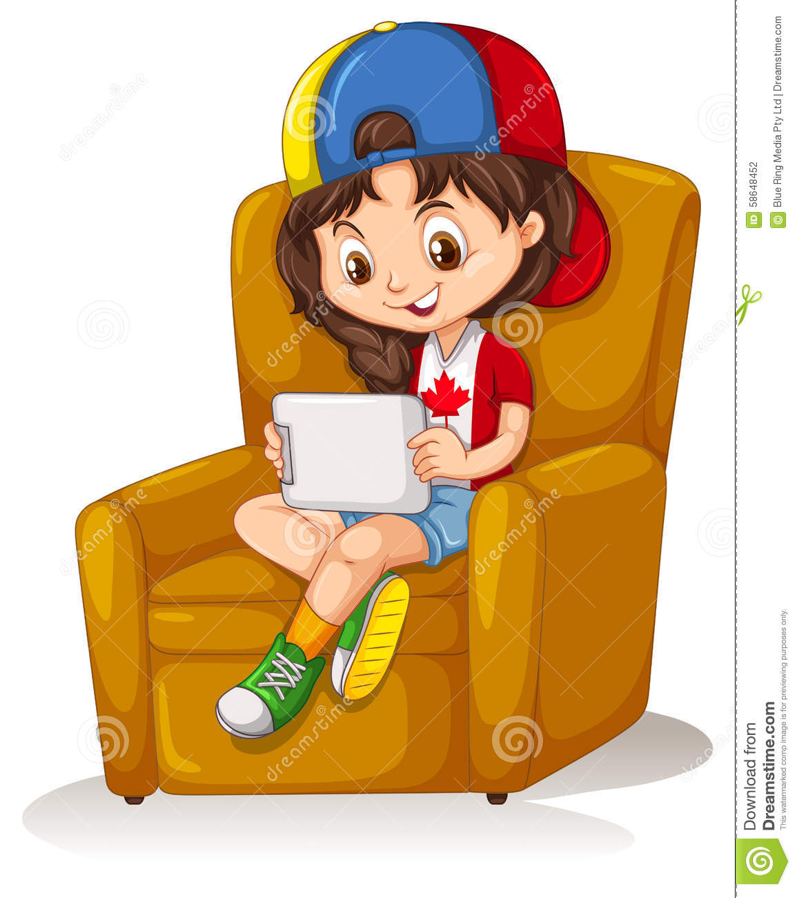 Little girl with tablet sitting on chair stock vector - Cartoon girl sitting alone ...