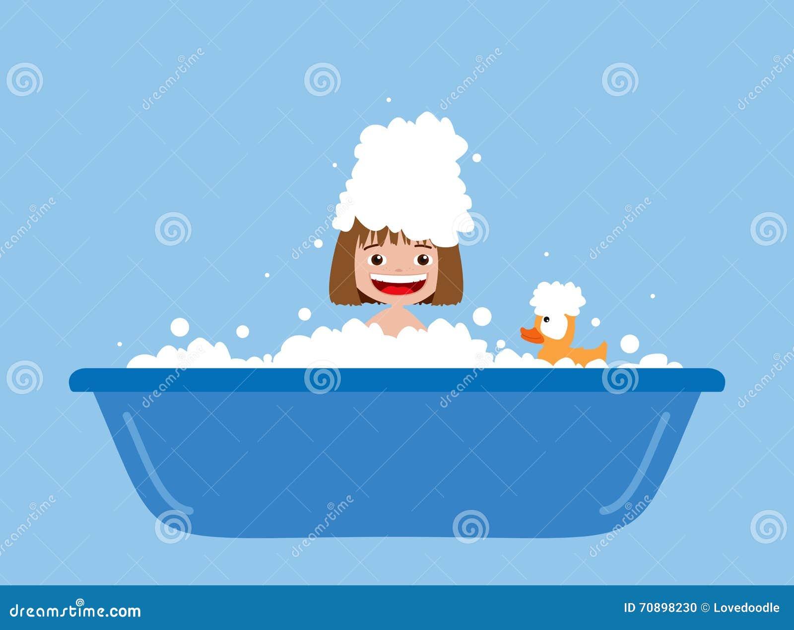 Little girl taking a bath. stock illustration. Illustration of ...