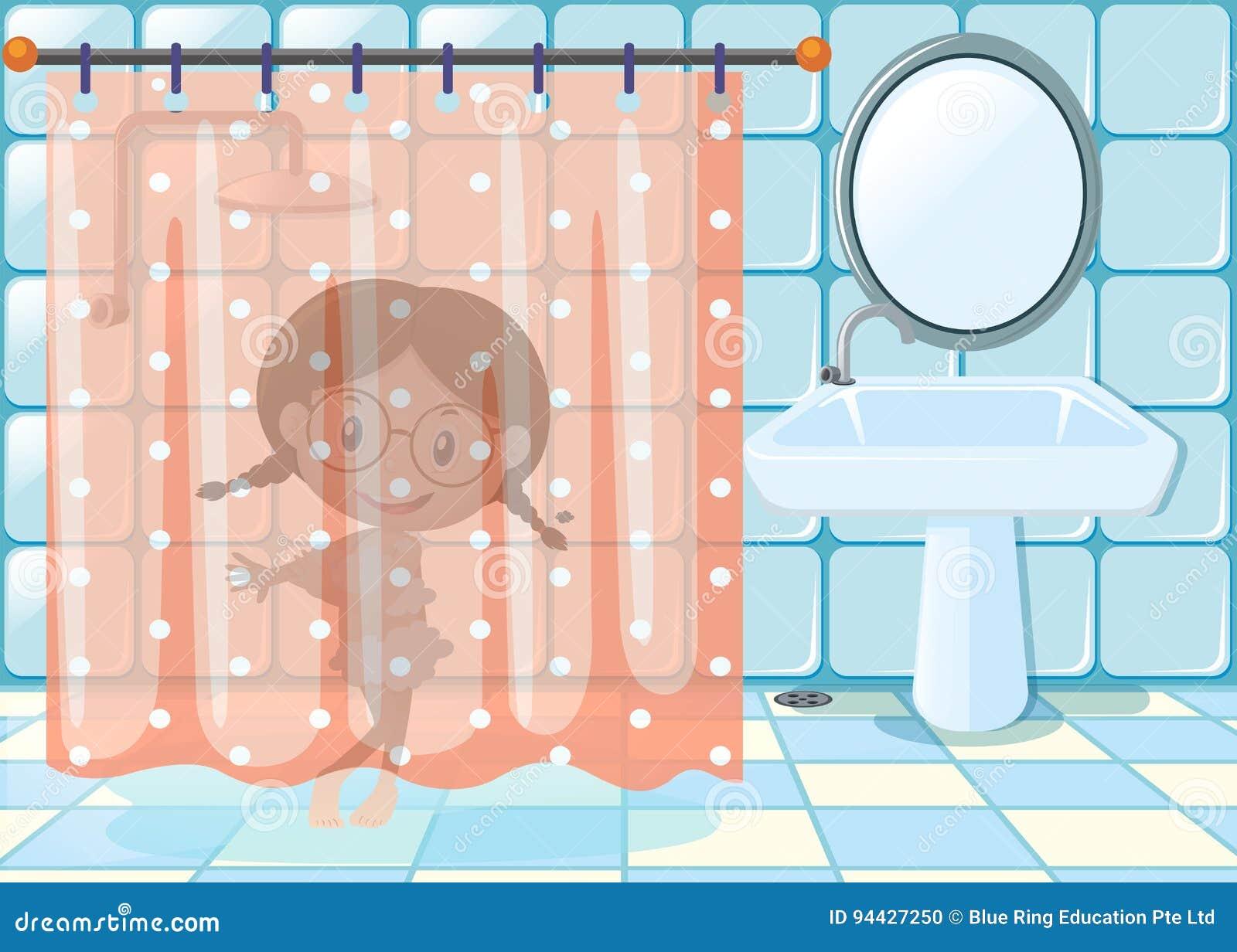 Little Girl Taking Shower In Bathroom Stock Vector