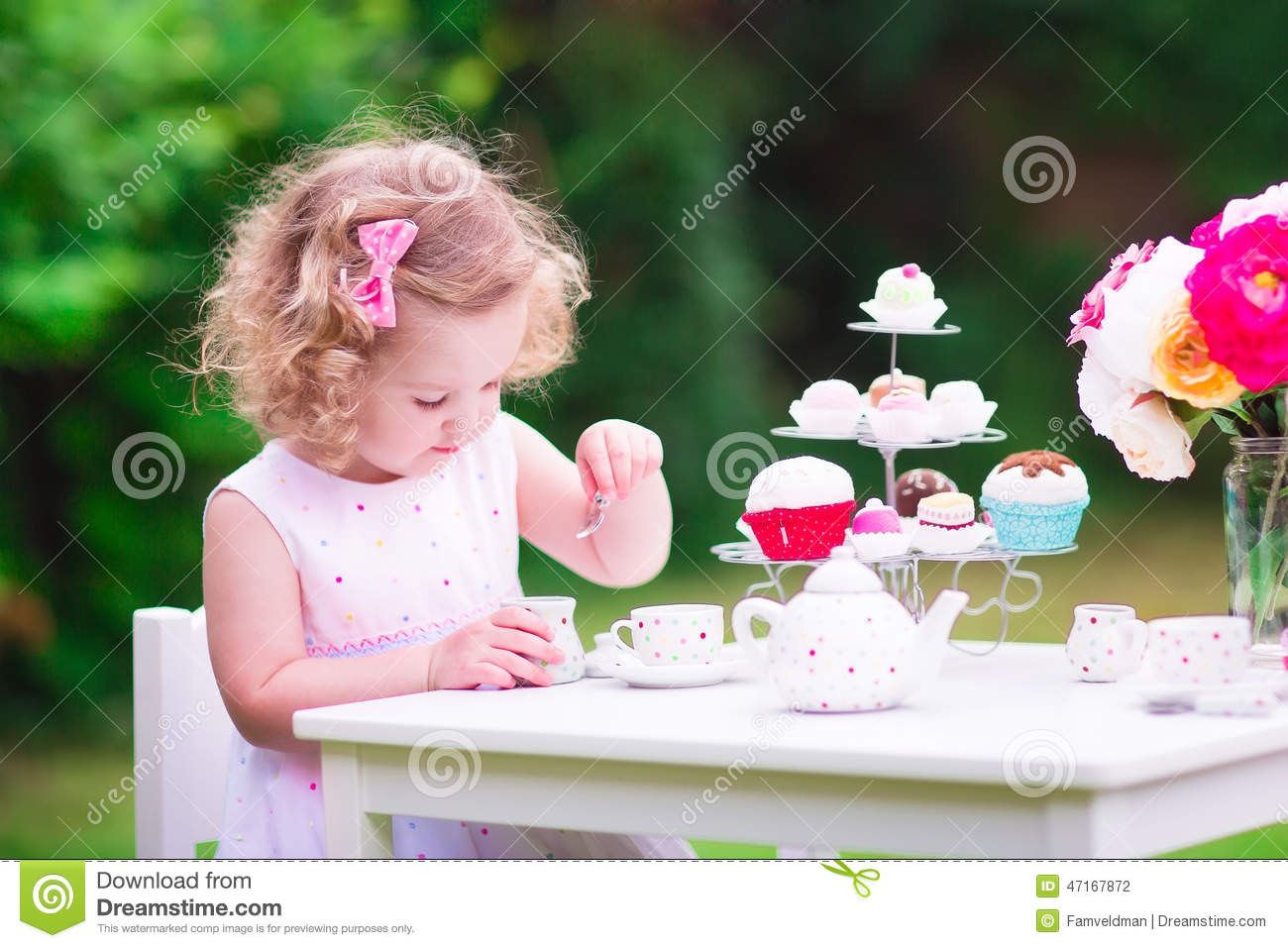 Little Girl At Tea Party Stock Photo Image 47167872