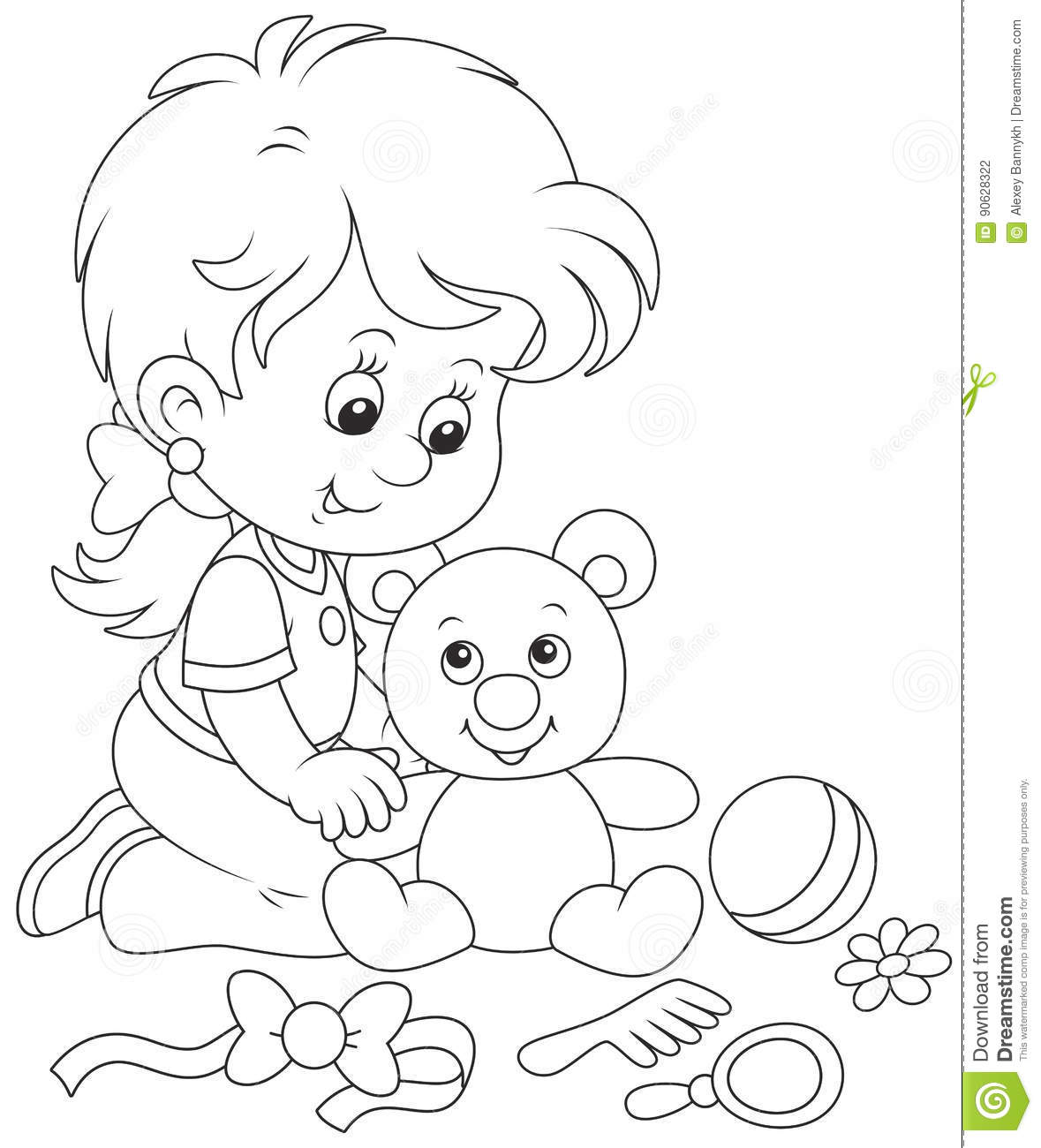 Little girl and Teddy bear stock vector. Illustration of ...Little Girl With Teddy Bear Black And White