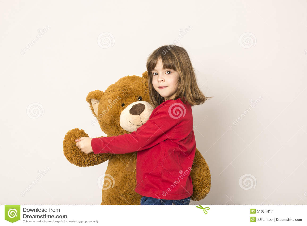 Little Girl And Teddy Bear stock image. Image of embracing ...Little Girl With Teddy Bear Black And White