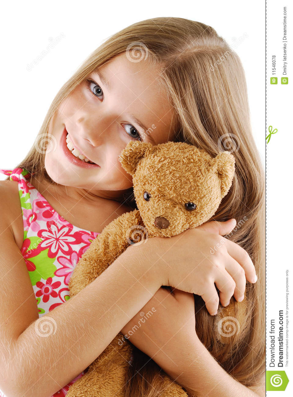 Little Girl With Teddy Bear On White Stock Photo - Image ...Little Girl With Teddy Bear Black And White
