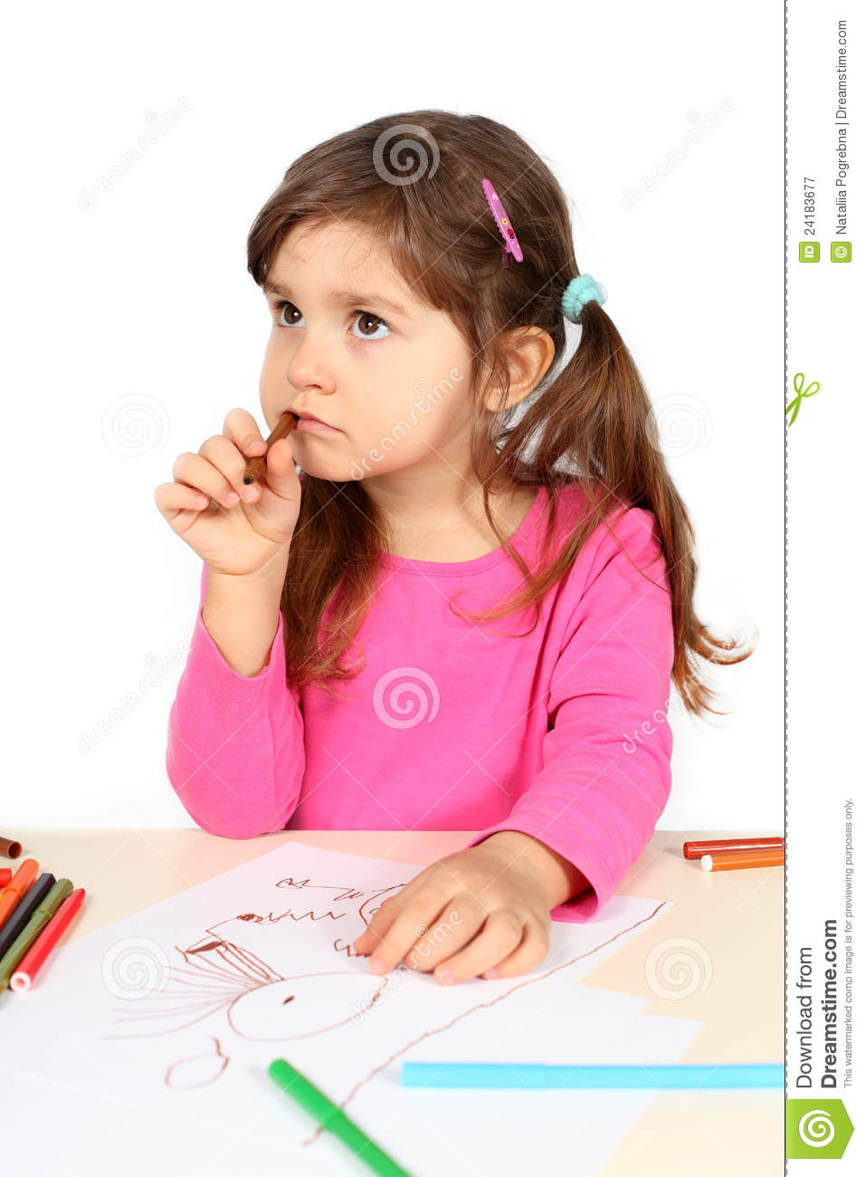 Little Girl Thinking Over Drawing Stock Image - Image of ...