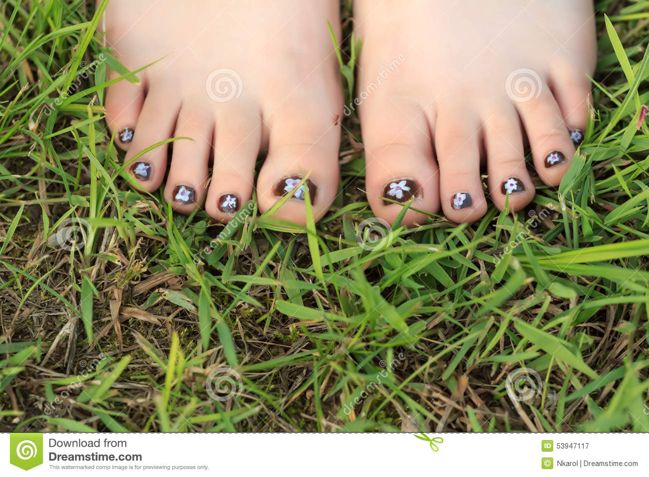 Little Girl Toes With Childish Handmade Nail Art Stock Image Image