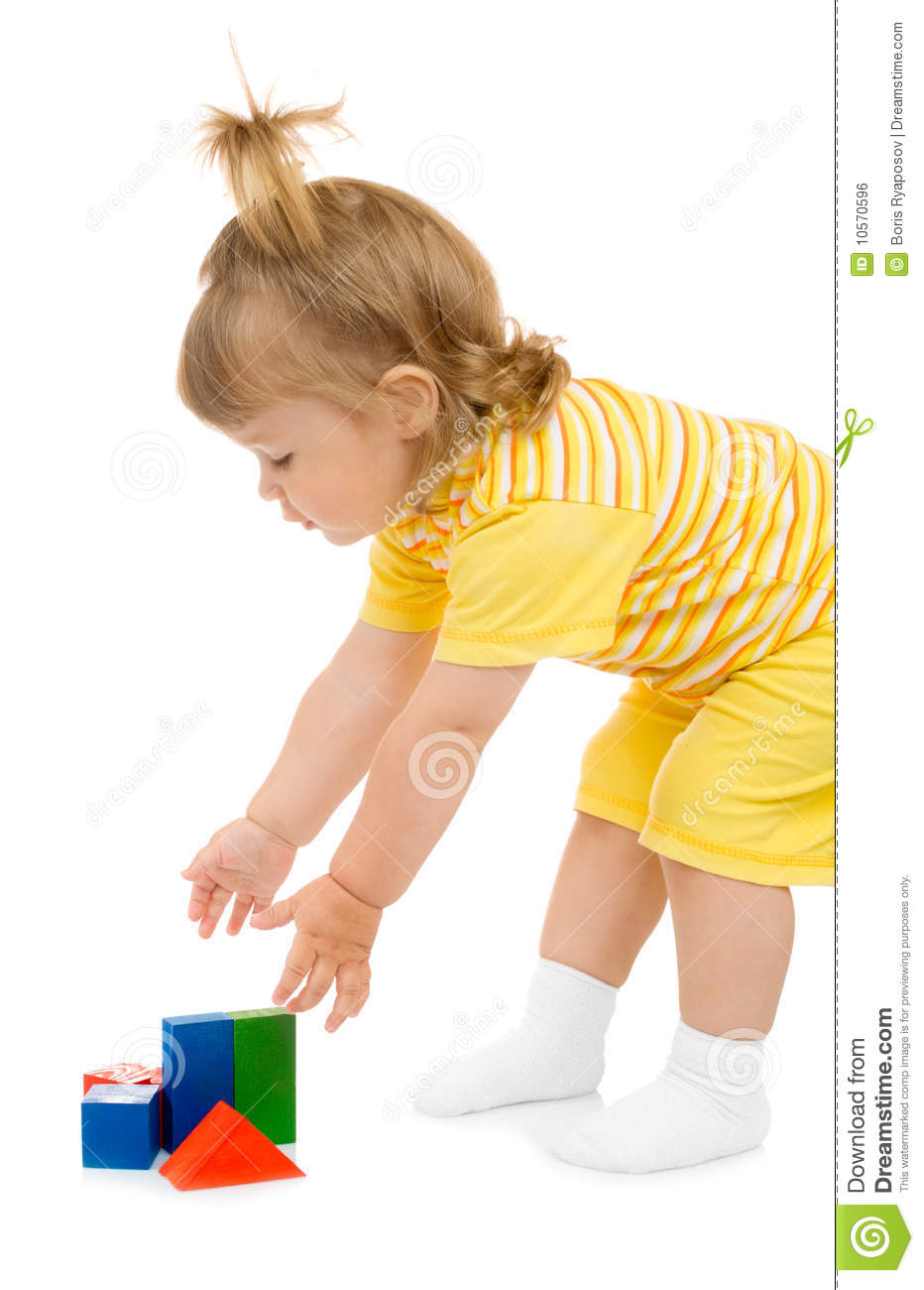 Little Girl Toys : Stock photo cute kid playing with cubes image images