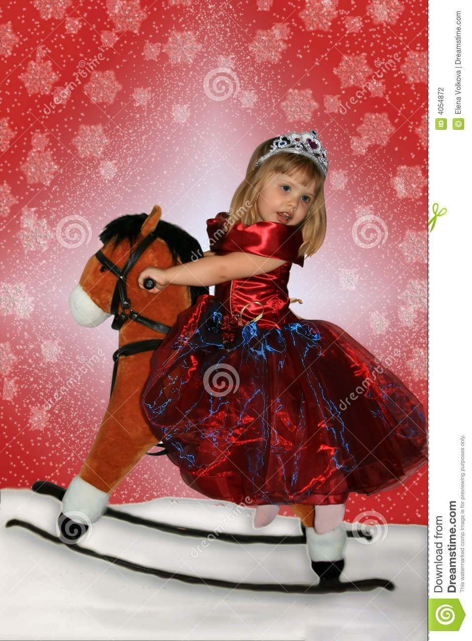 Little Girl Toys : The little girl on a toy horse stock photography image