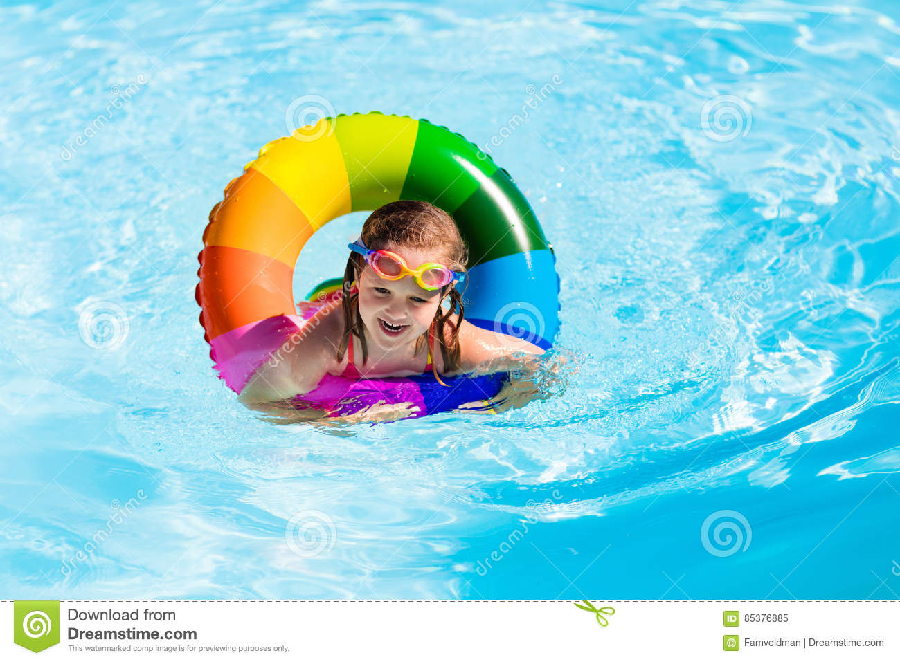 Little girl with toy ring in swimming pool stock image - Wetherby swimming pool swim times ...