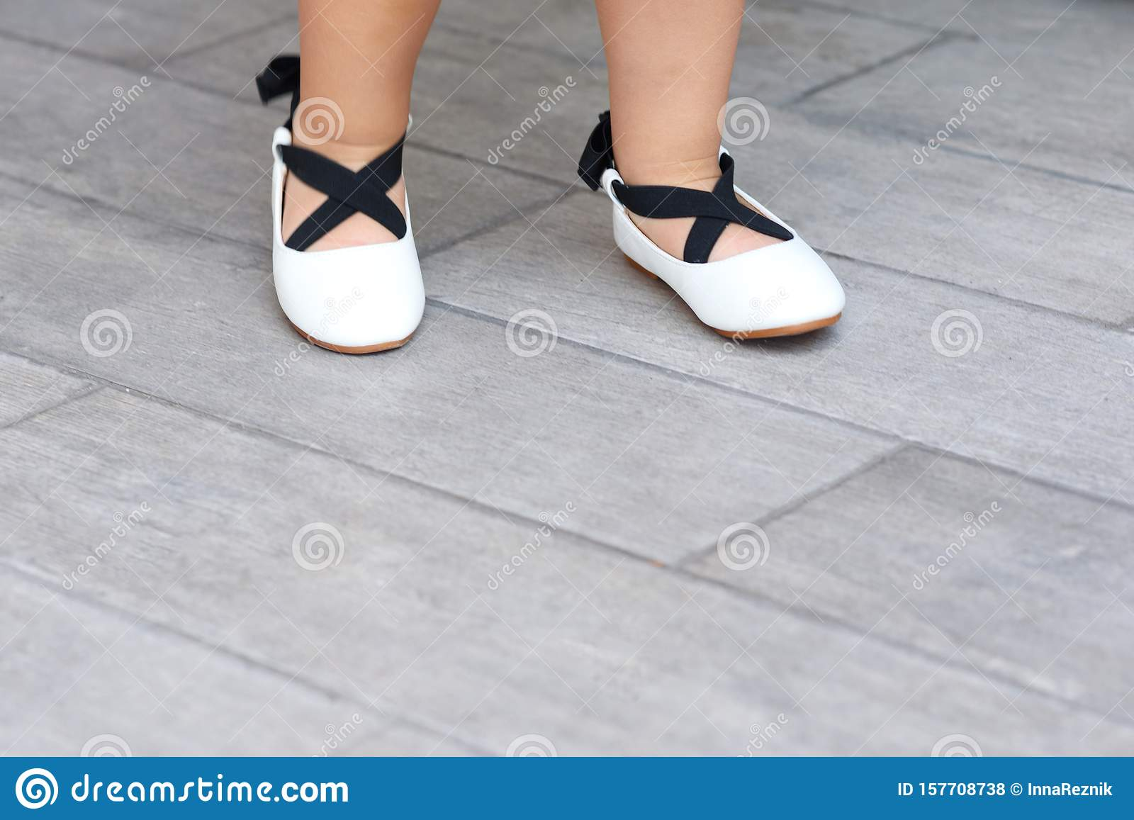 White Flats In Childrens Shoe Store
