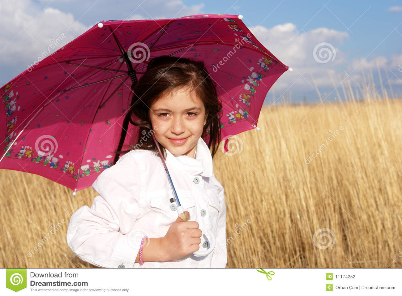 Little Girl With Umbrella In The Field Stock Photography ...