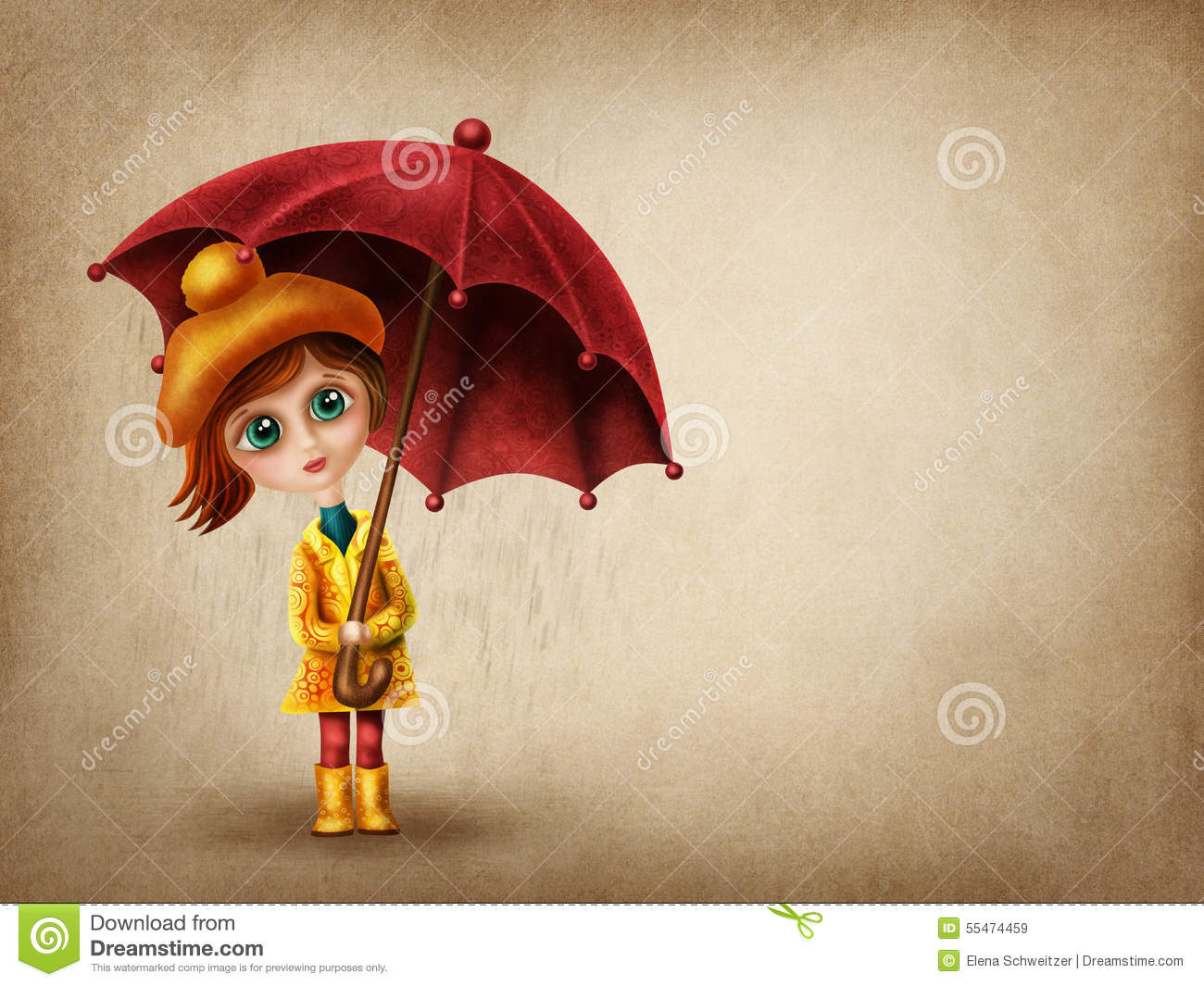 Little Girl With Umbrella Stock Illustration - Image: 55474459