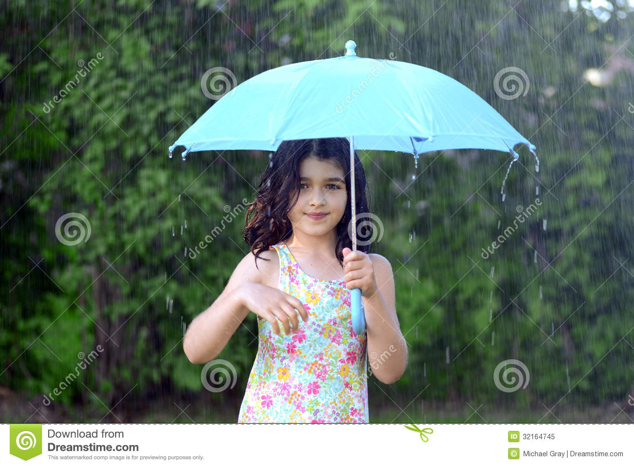 Little Girl With Umbrella In The Rain Royalty Free Stock