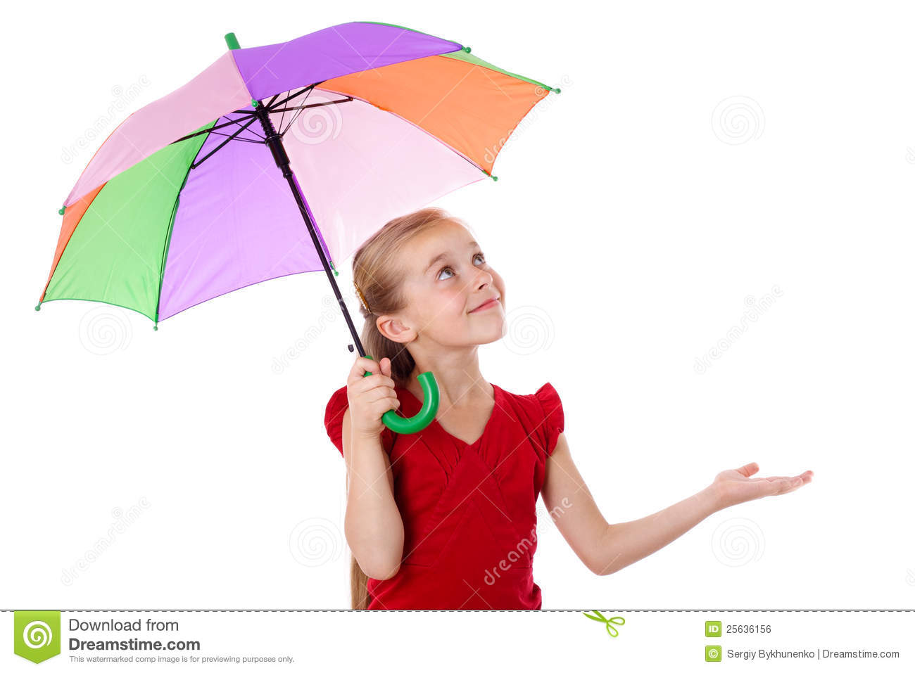 Little Girl Under Umbrella Looking Up Royalty Free Stock ...