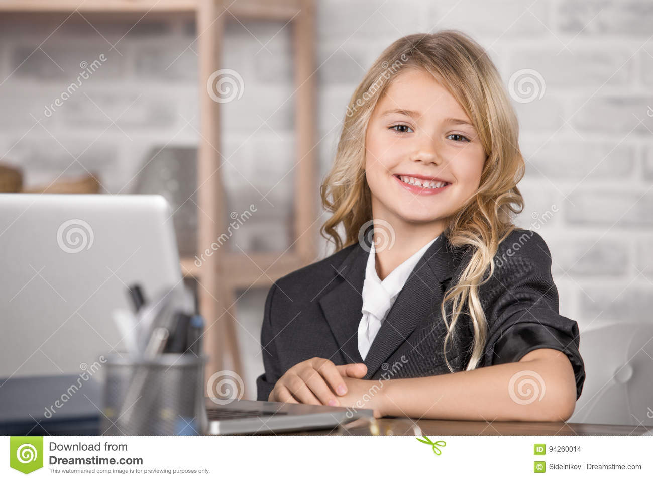 Little Girl Using Digital Device Modern Technology