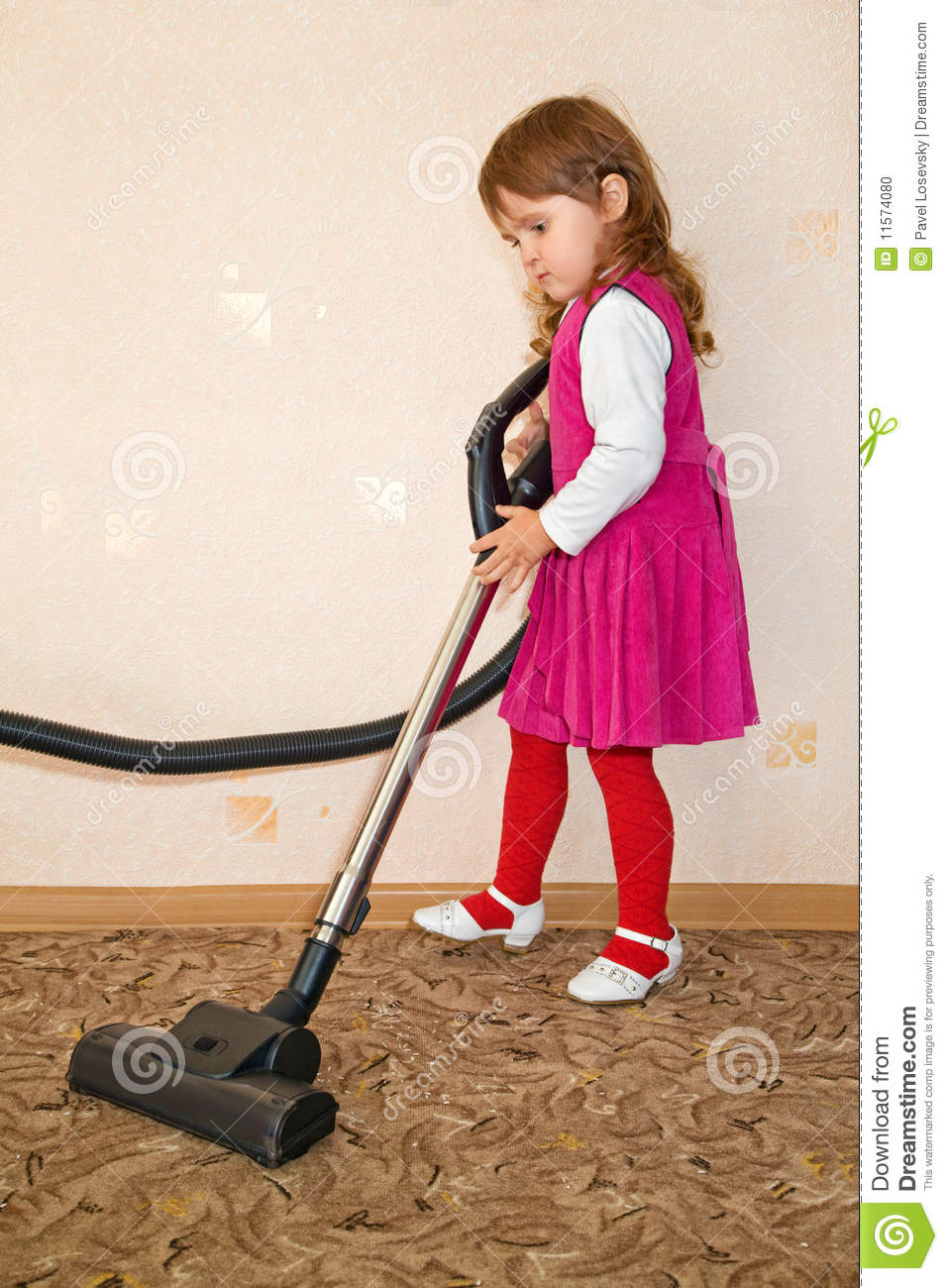 Little Girl Vacuum A Carpet Stock Photo Image Of Glove