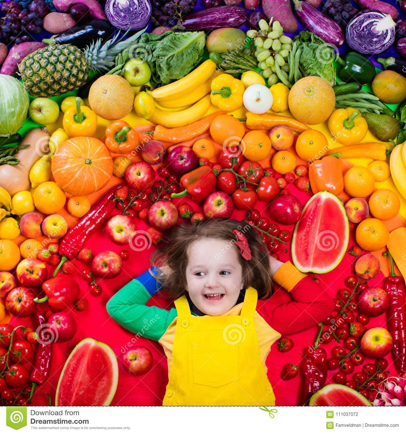 Rainbow Coordinated Fruits: Healthy Fruit And Vegetable Nutrition For Kids Stock Photo