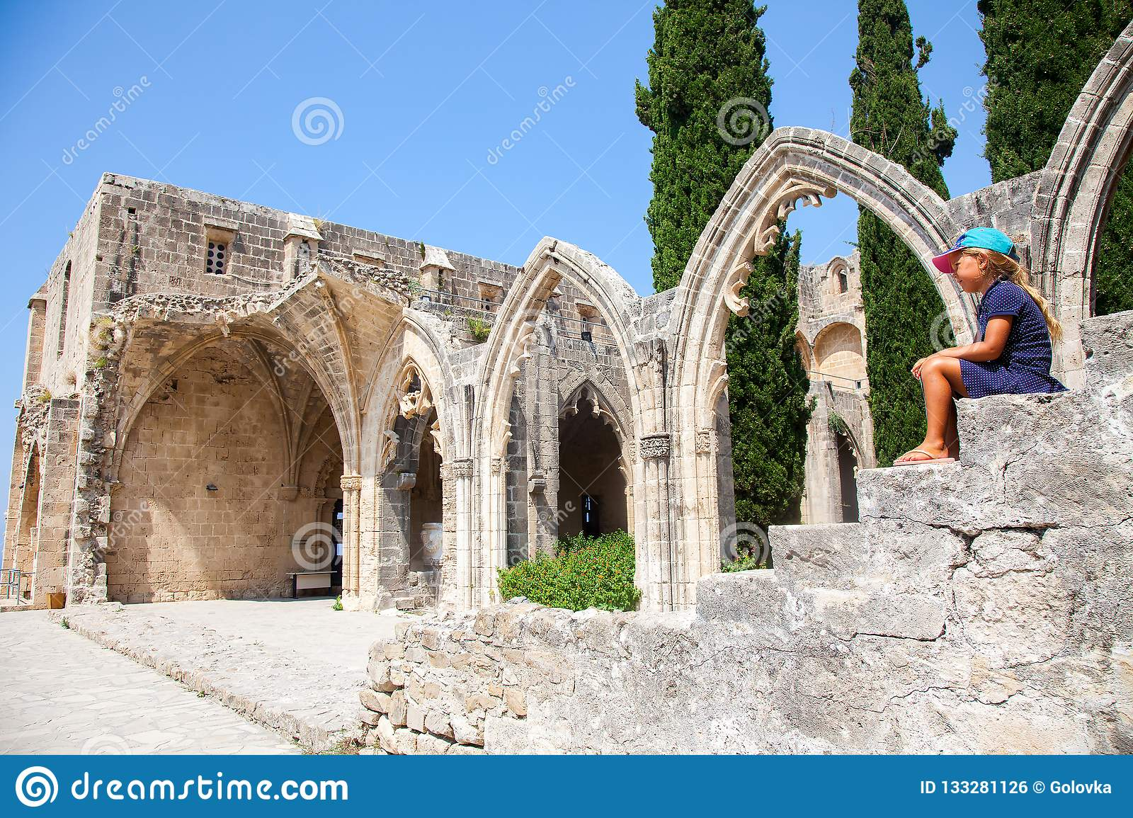 Little girl in Bellapais Abbey in North Cyprus, Kyrenia