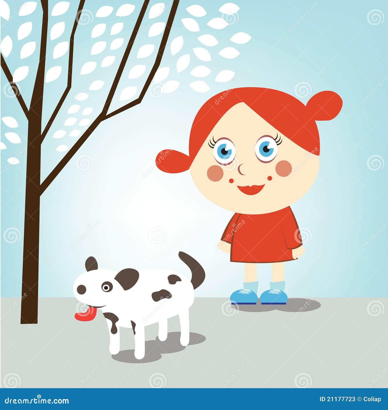 Little girl walking dog