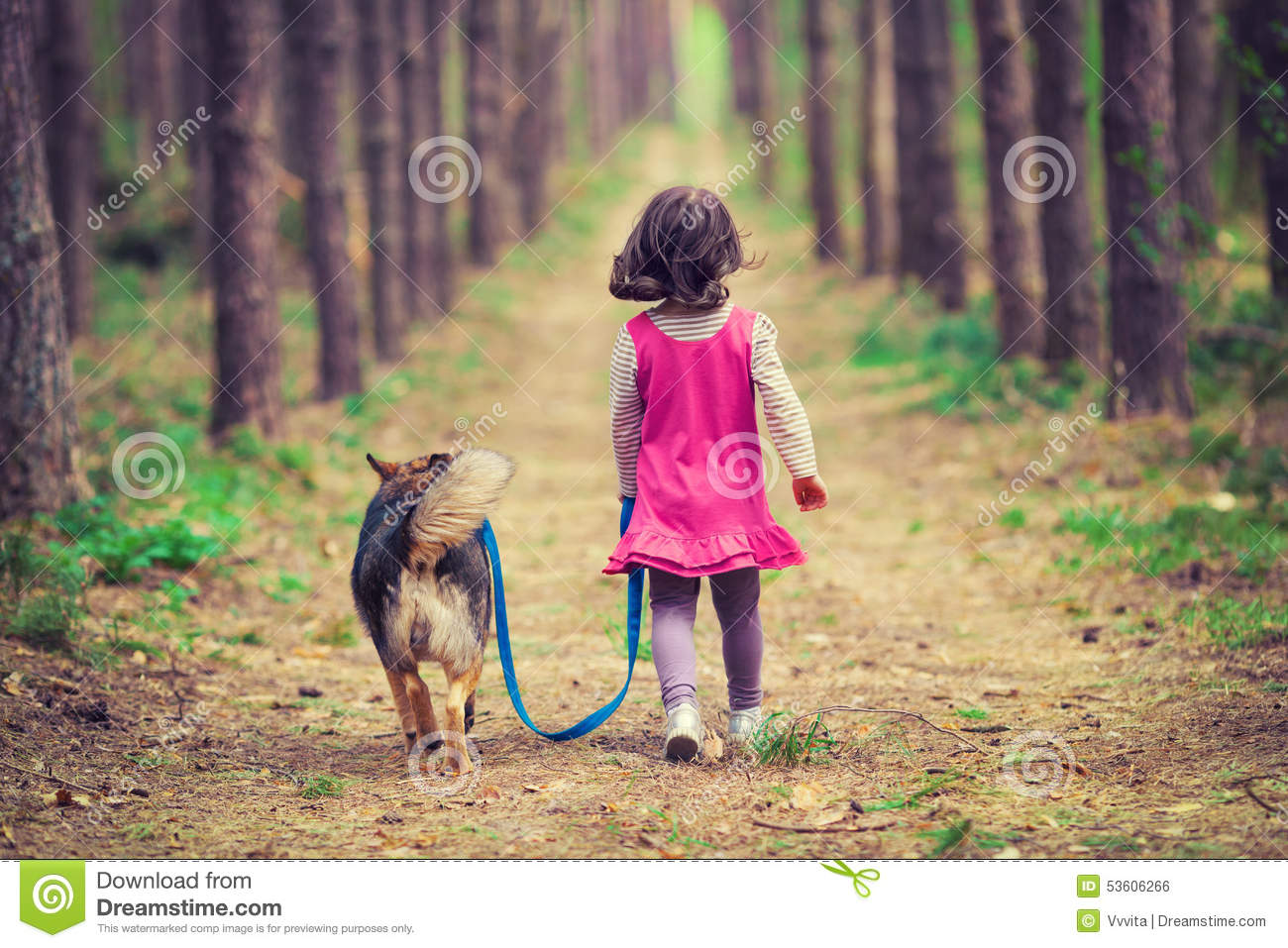 Download Little Girl Walking With Dog Stock Photo - Image of happy, puppy: 53606266