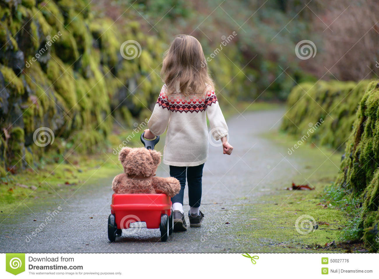 Little Girl Walking Down The Path Pulling Red Wagon With ...Little Girl With Teddy Bear Black And White