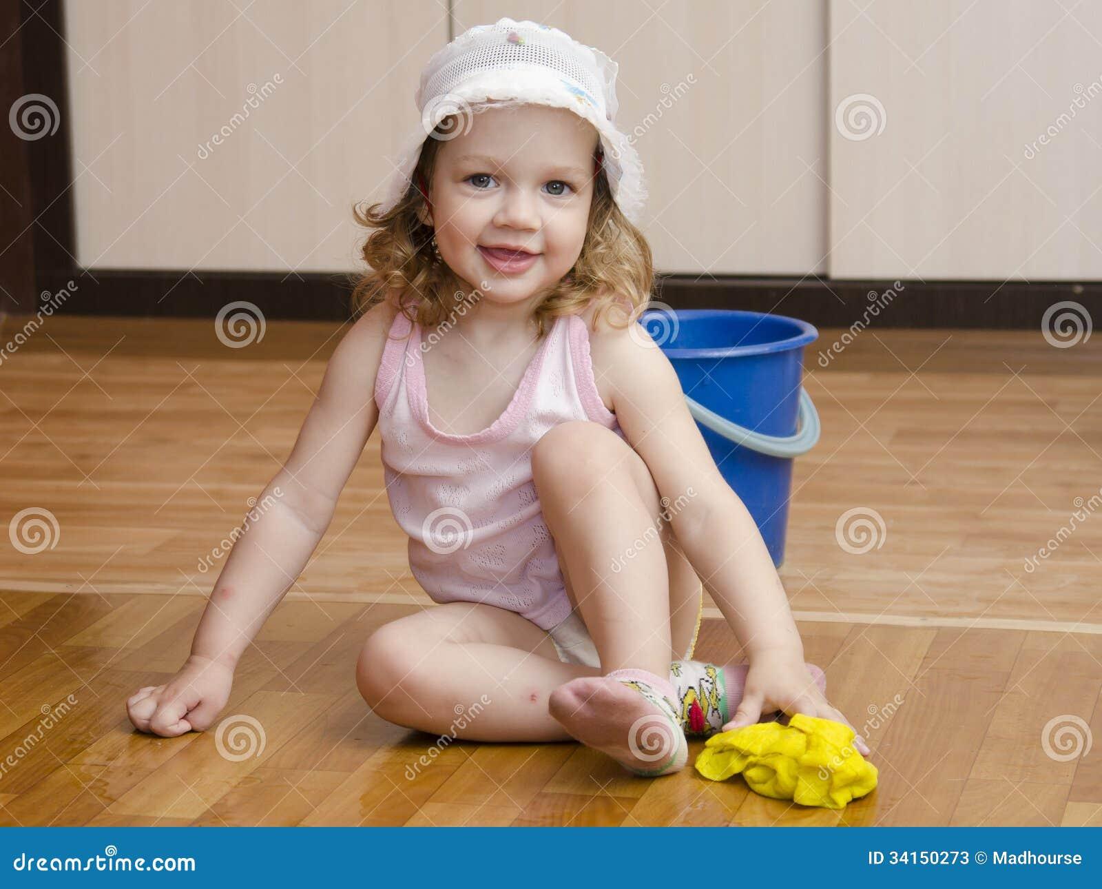 Little Girl Wash Rag Floors Stock Image - Image of bucket ...