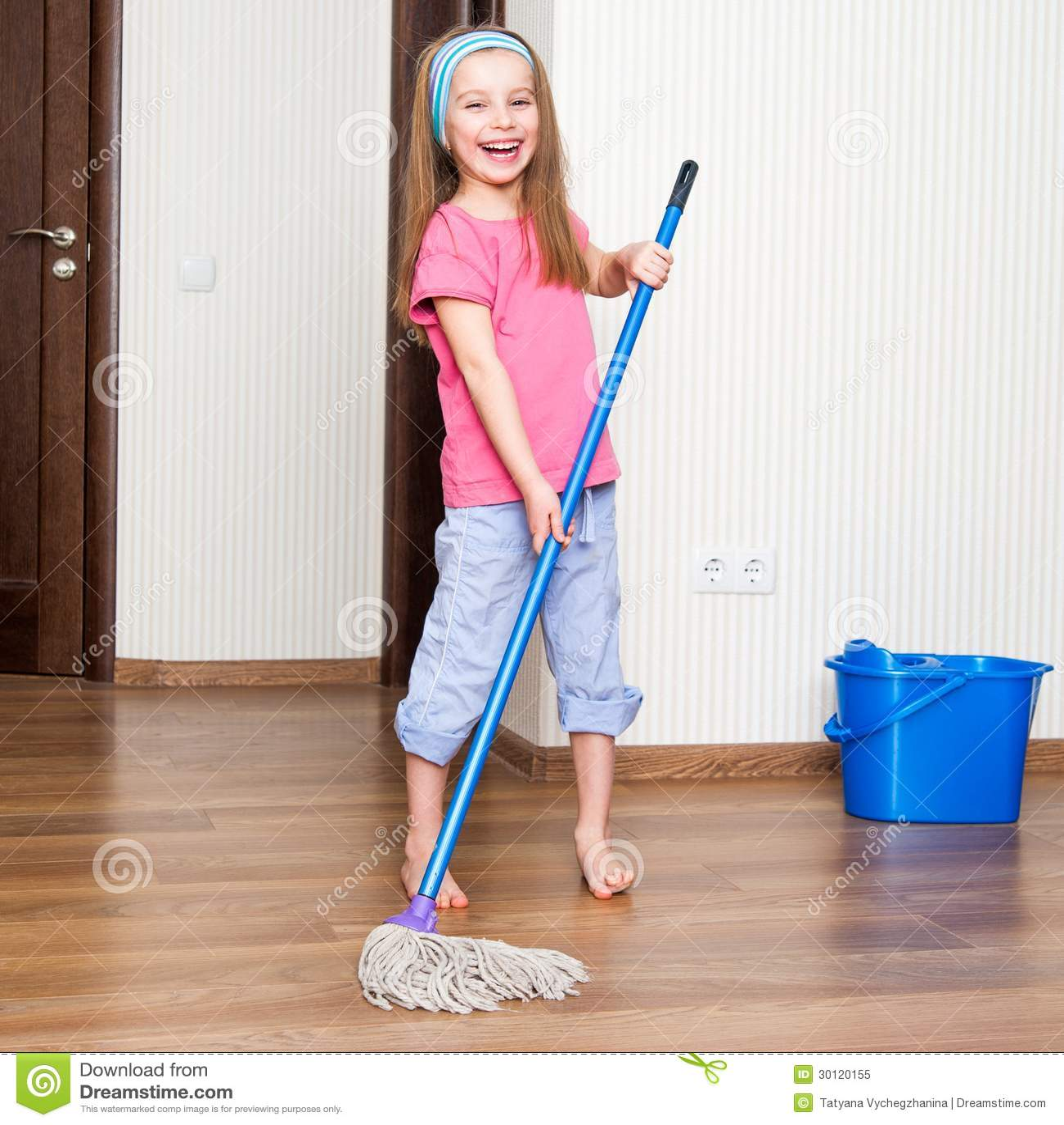 Computer Room Floor Plan Little Girl Washing The Floor Royalty Free Stock Photo