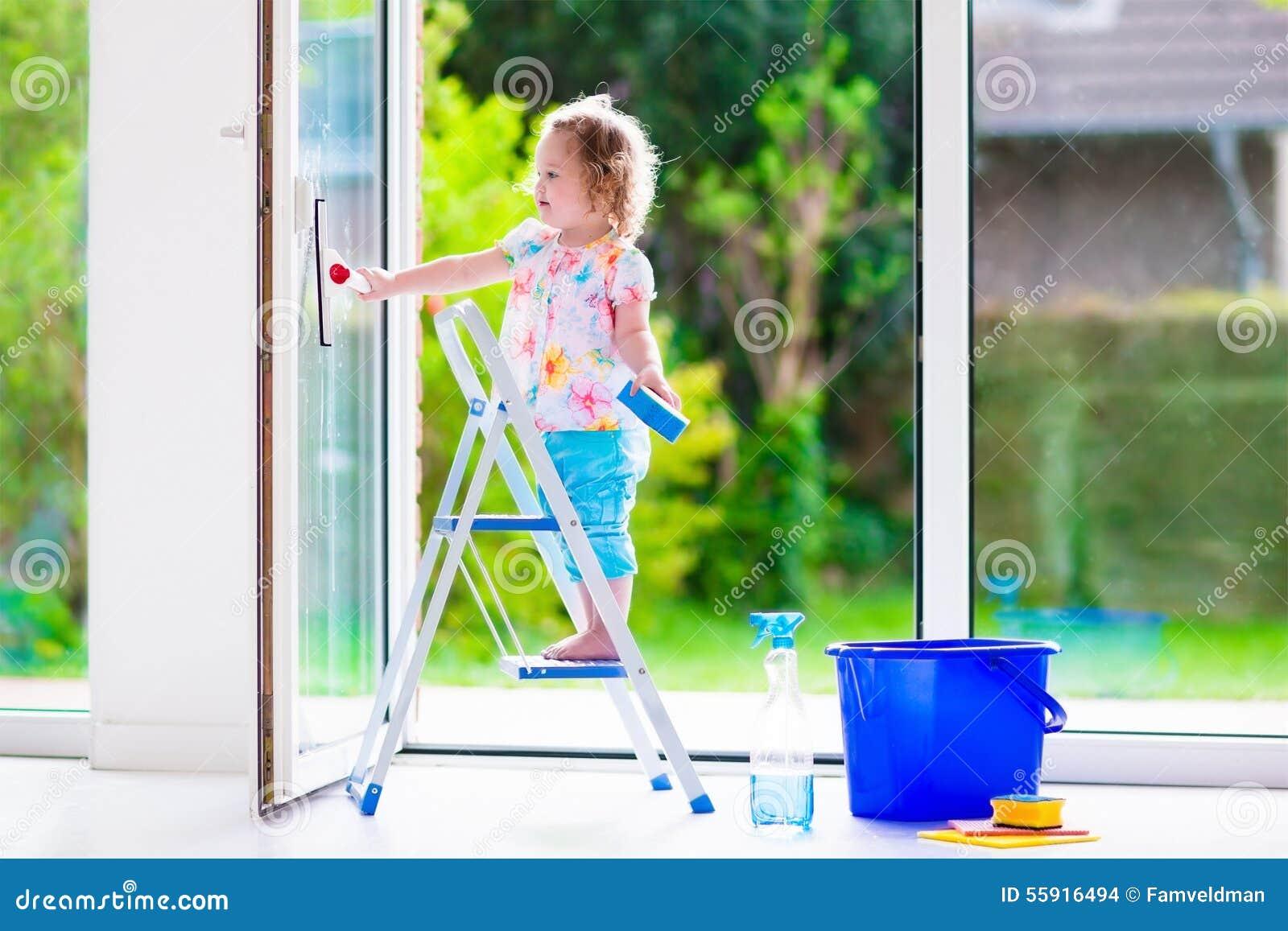 Little Girl Washing A Window Stock Image Cartoondealer