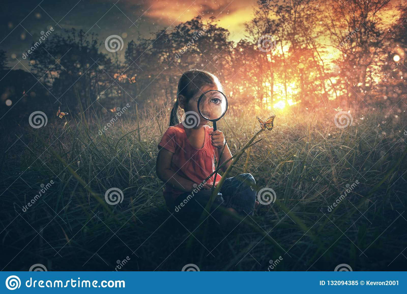 Little girl watching butterflies