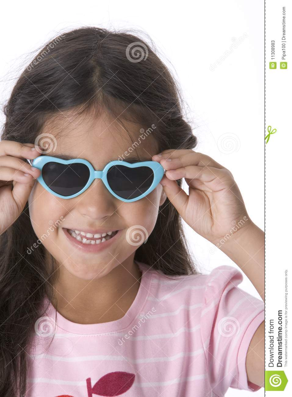 Little Girl Is Wearing Heart Shaped Sunglasses Stock Image ...