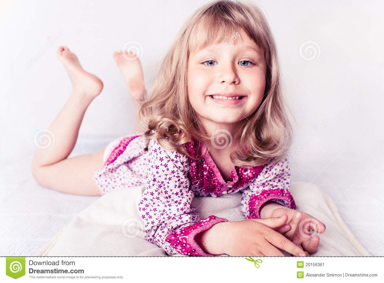 Little Girl Wearing A Nightgown Stock Image - Image of morning ...