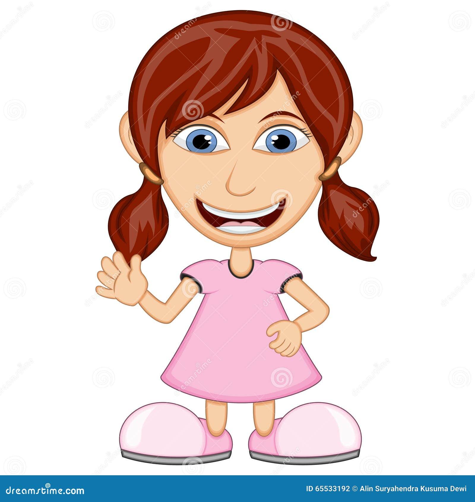Little girl wearing a pink dress cartoon