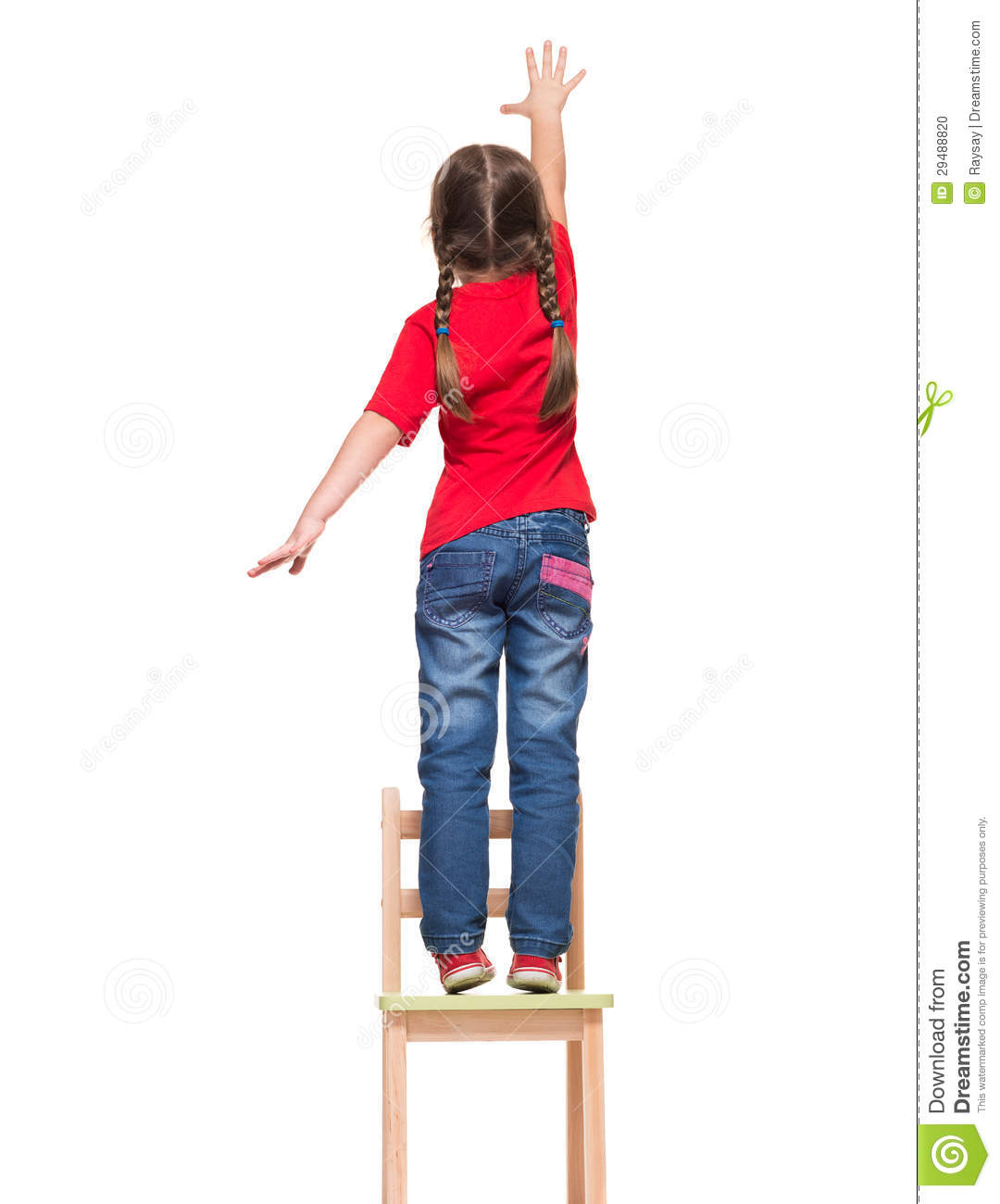 Little Girl Wearing Red T-shirt And Reaching Out Something Up Hi Stock ...