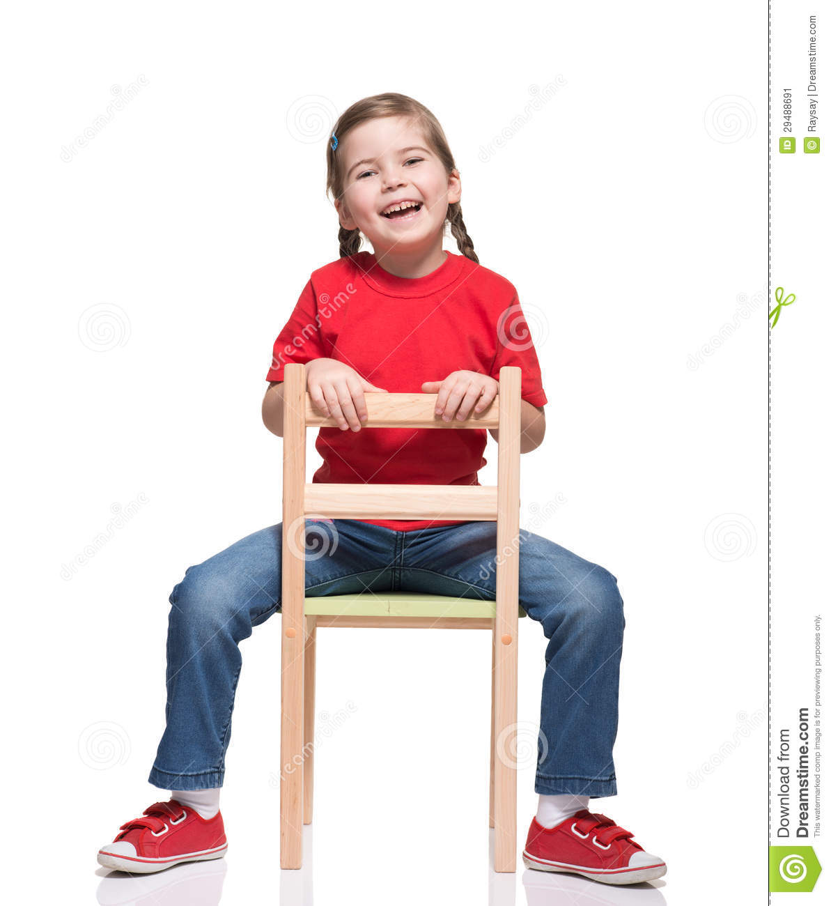 little girl wearing red t short and posing on chair stock image image of small jeans 29488691. Black Bedroom Furniture Sets. Home Design Ideas