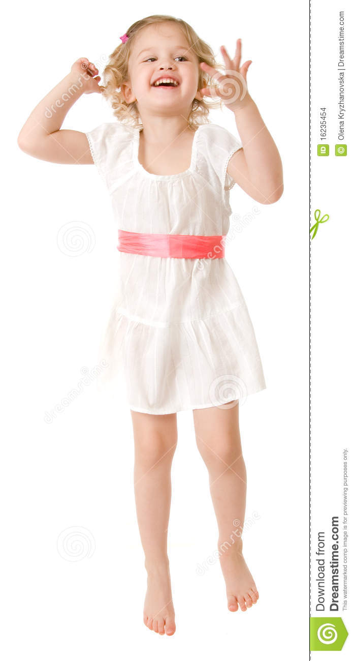 Little Girl Wearing A White Dress On White Stock Images ...