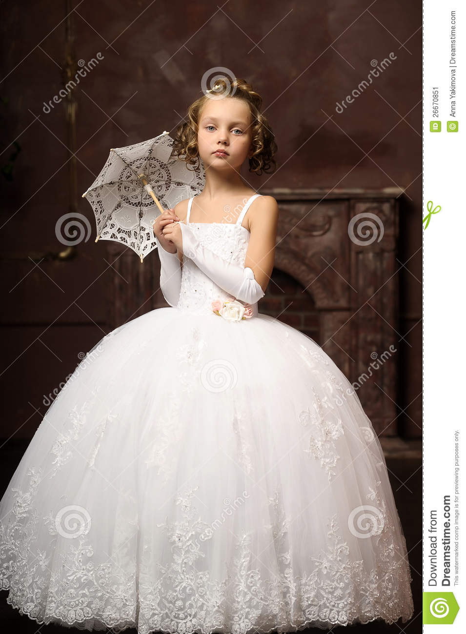 Little Girl In Wedding Dress Stock Image Image Of Hair