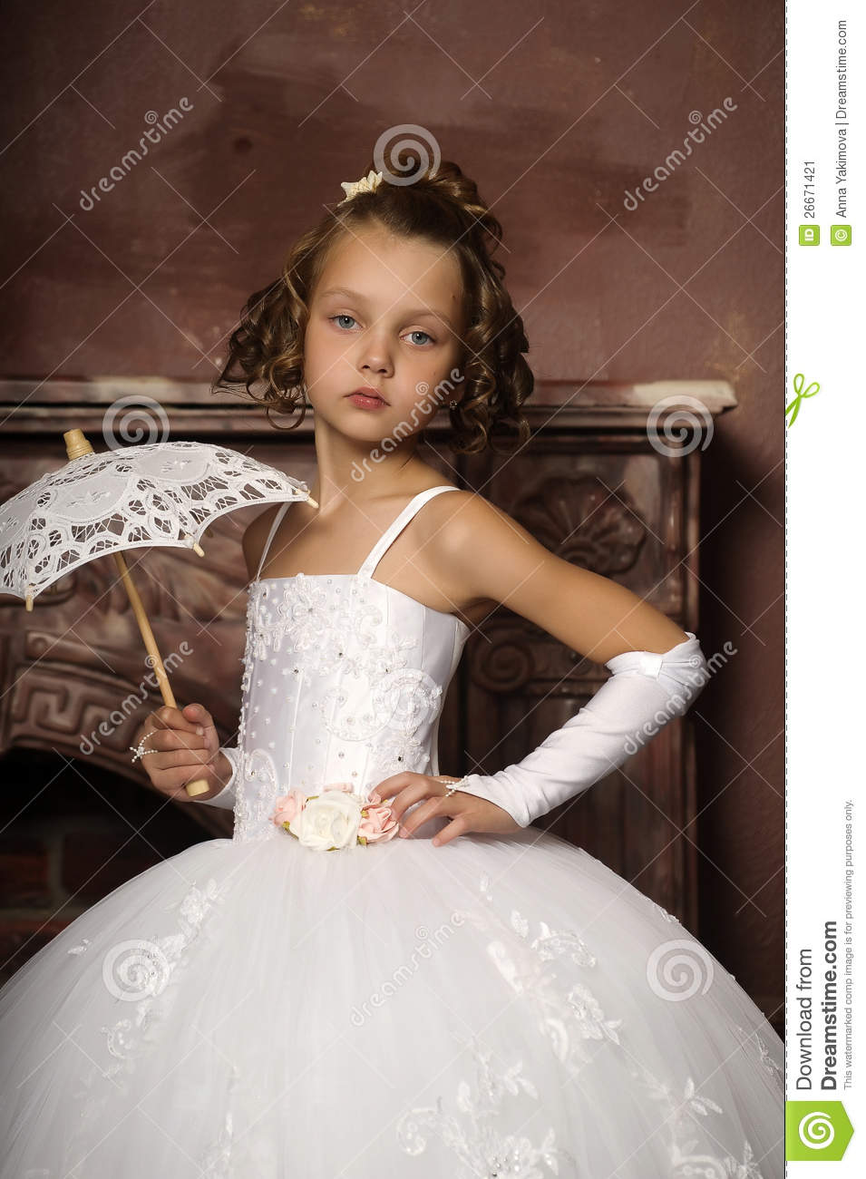 Little girl in wedding dress stock image image of for Wedding dresses for young girls