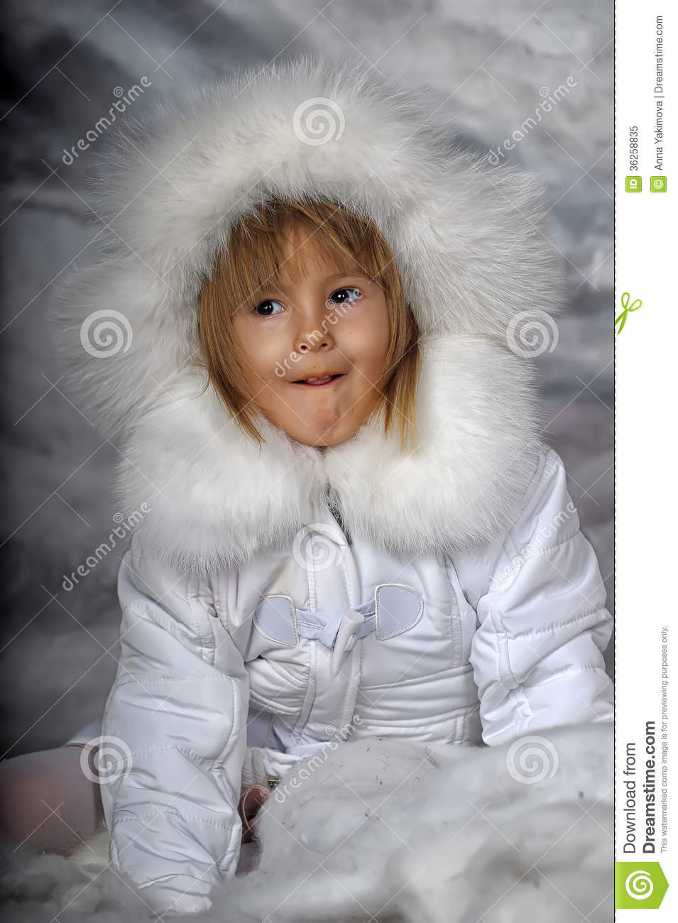 Little Girl In White Winter Coat Royalty Free Stock Photo - Image