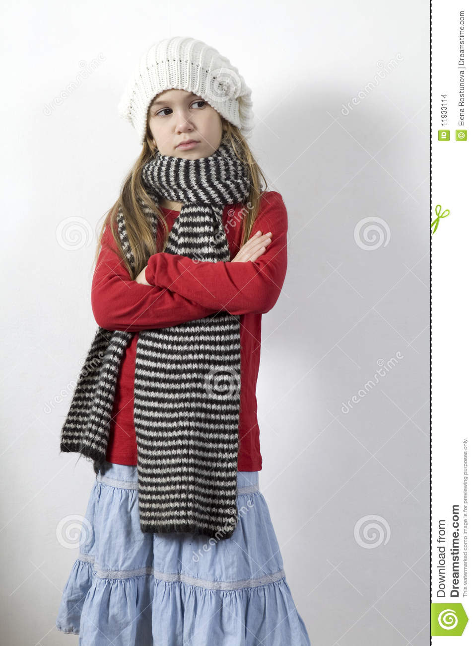 Little Fashionable Girl In Warm Clothes Royalty Free Stock