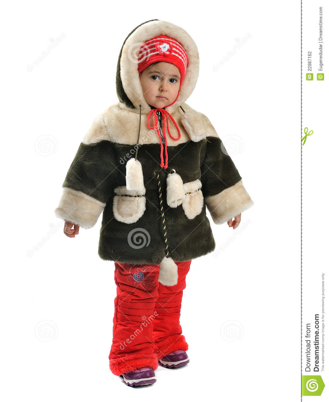 little girl in winter clothes stock photography image