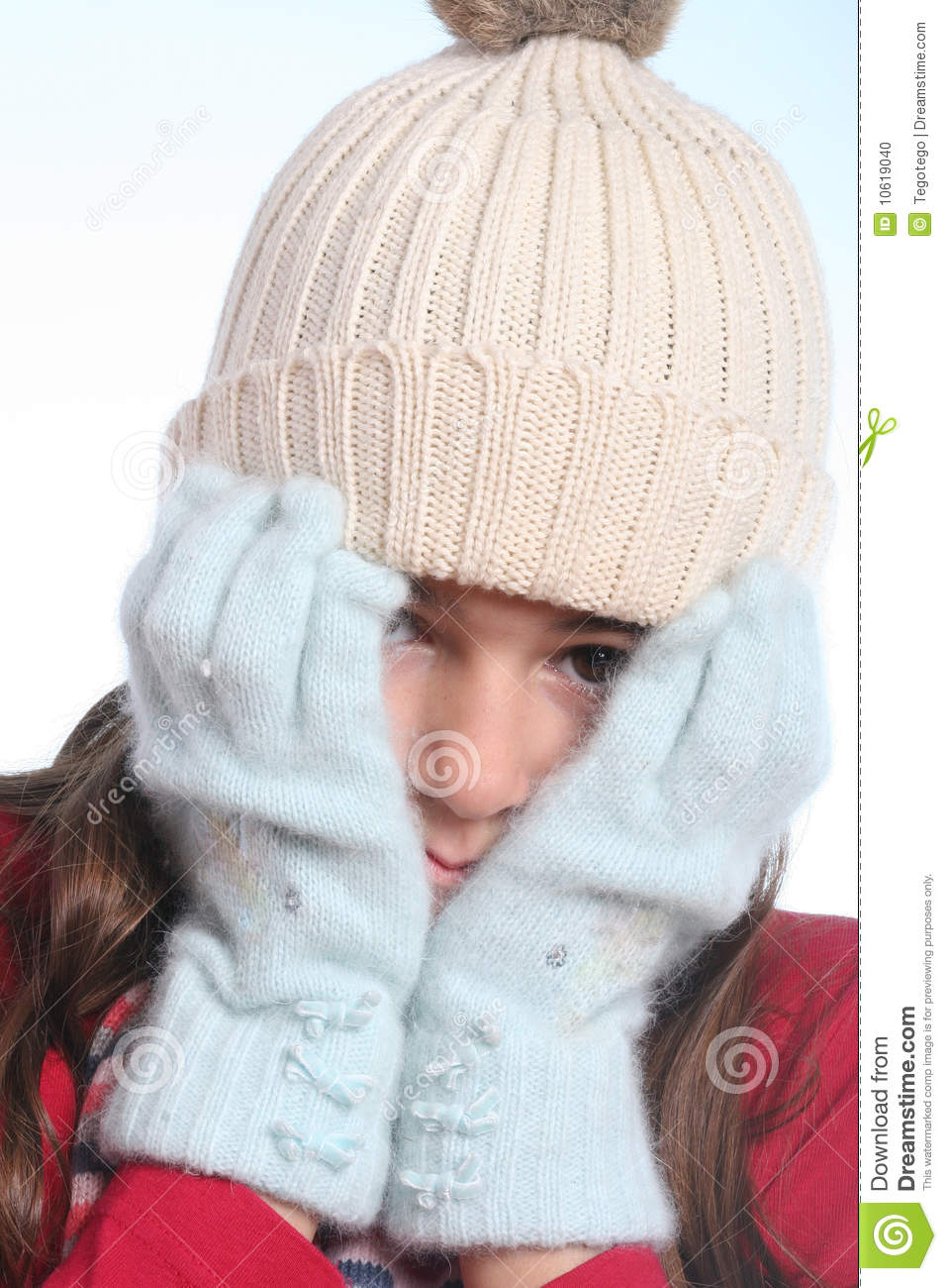 little girl with winter clothing stock photo