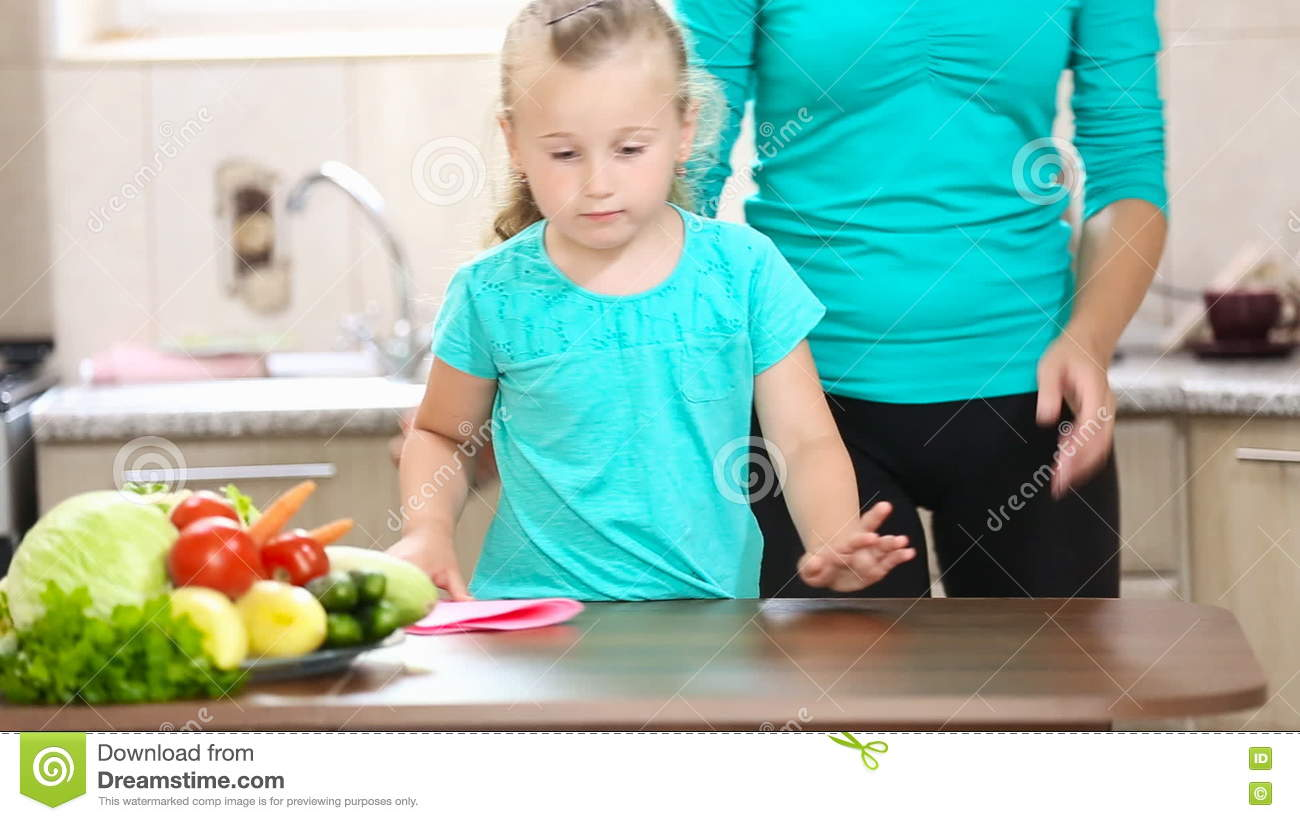 Little Girl Wiping The Table Stock Footage - Video of childhood ...