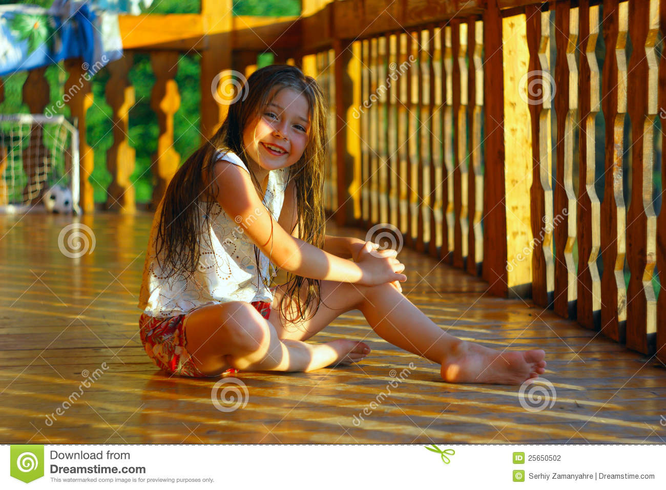 055679306 Little Girl In The Wooden House Stock Photo - Image of woman