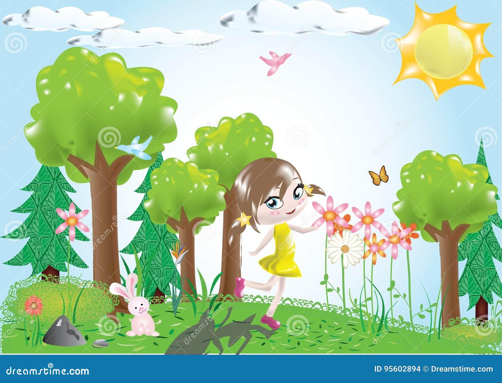 Girl Walking Woods Stock Illustrations – 66 Girl Walking ...