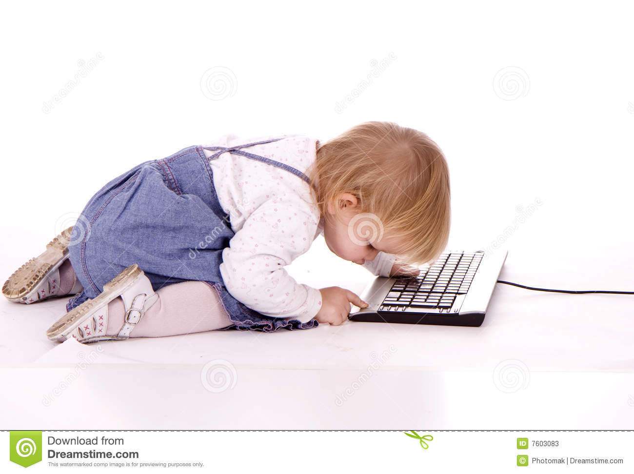 little girl writing on keyboard of computer stock photos image 7603083. Black Bedroom Furniture Sets. Home Design Ideas