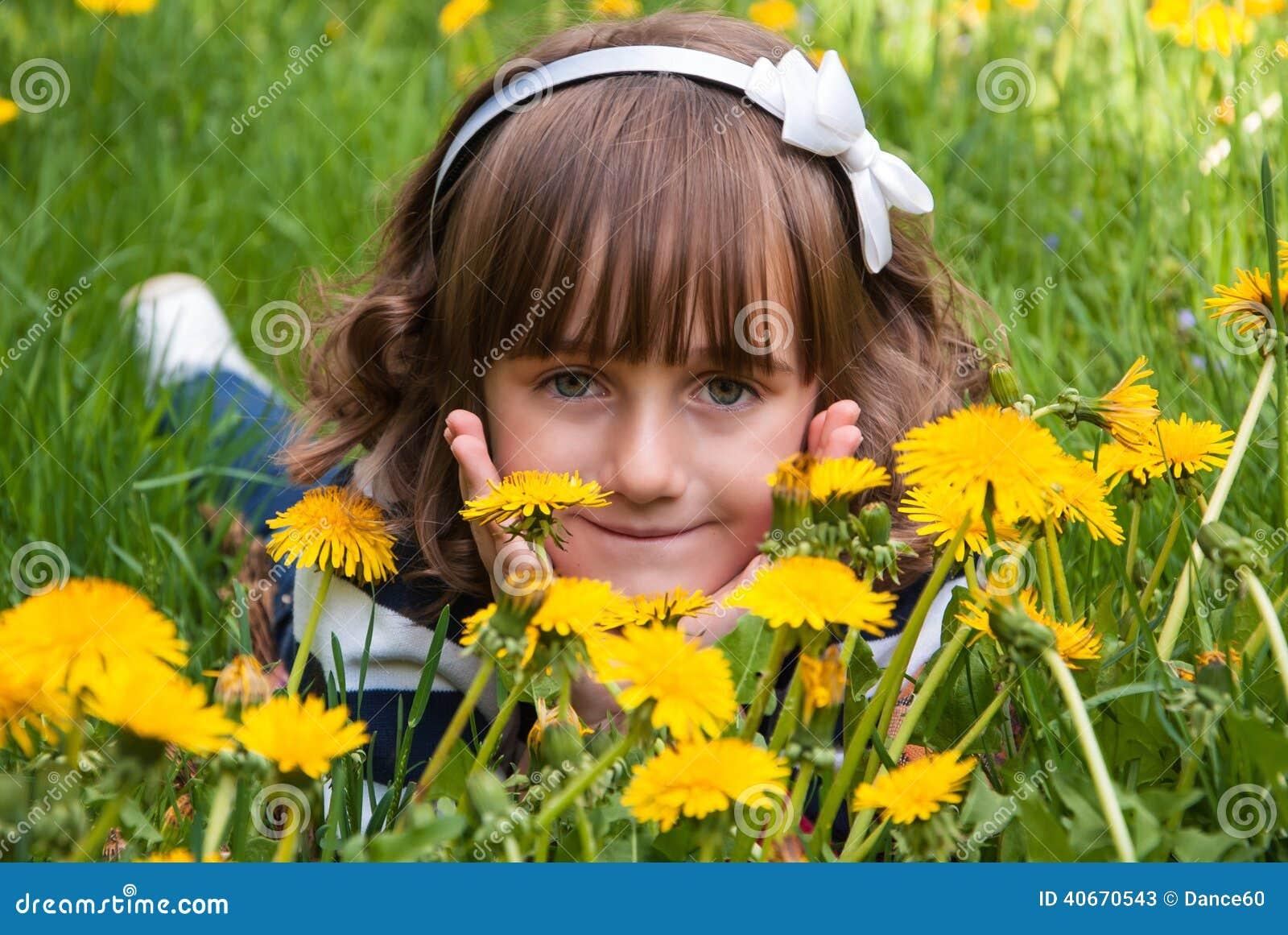 Little Girl Among Yellow Flowers Stock Image Image Of Child