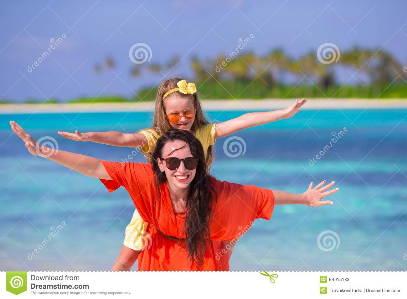 Little Girl And Young Mother During Beach Vacation Stock ...