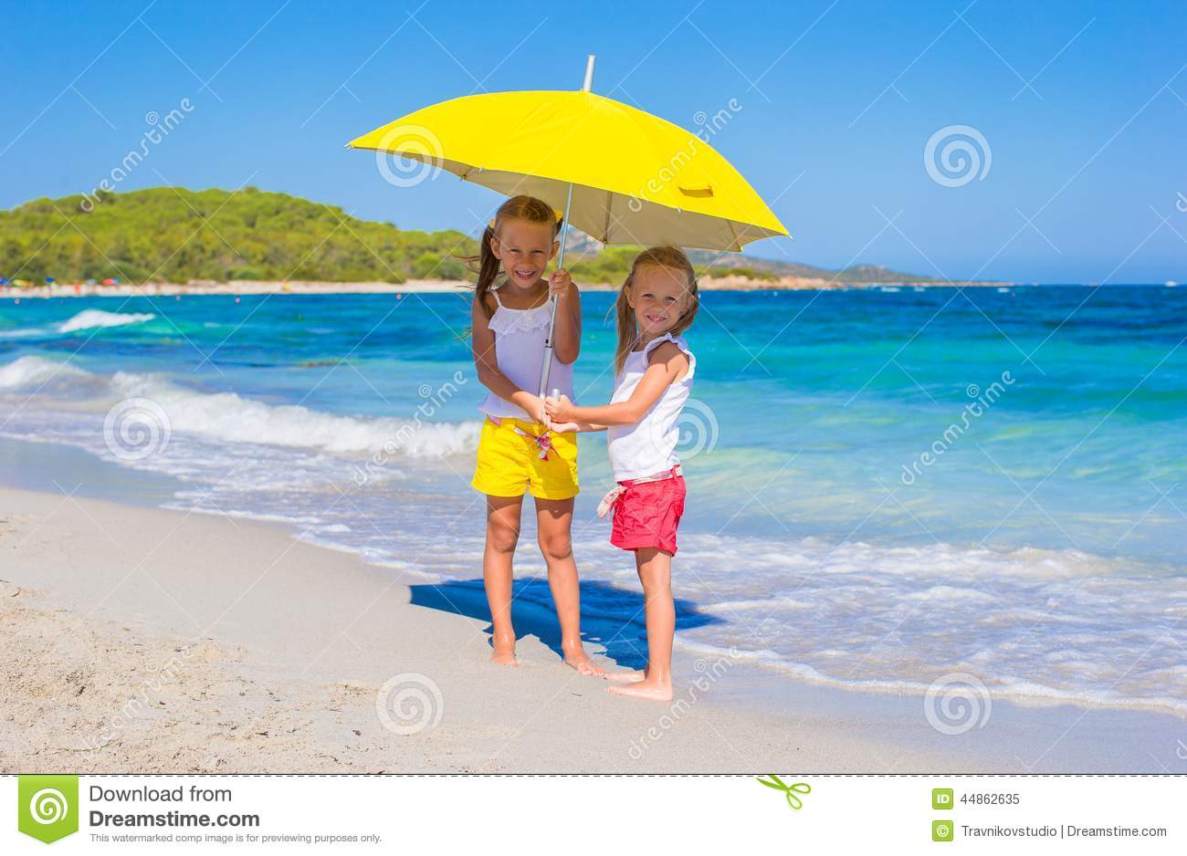 Little Girls With Big Yellow Umbrella Walking On Stock Image Image